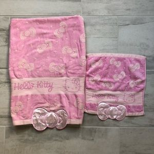 Hello Kitty Sanrio Bath and Wash Towel Set Pink